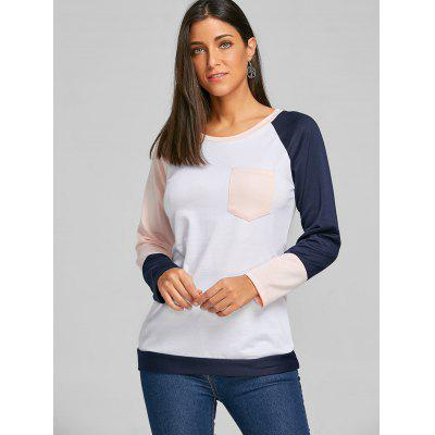 Pocket Color Block Raglan Sleeve TopBlouses<br>Pocket Color Block Raglan Sleeve Top<br><br>Collar: Round Neck<br>Embellishment: Pockets<br>Material: Polyester, Spandex<br>Package Contents: 1 x Top<br>Pattern Type: Others<br>Season: Fall, Spring, Winter<br>Shirt Length: Regular<br>Sleeve Length: Full<br>Sleeve Type: Raglan Sleeve<br>Style: Casual<br>Weight: 0.3500kg