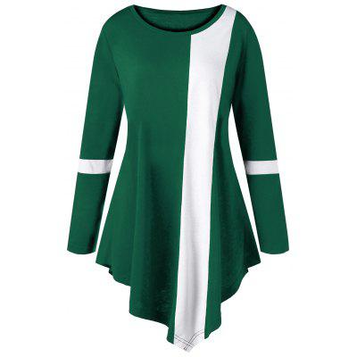 Buy Plus Size Two Tone Color Asymmetric Long Top, GREEN, 2XL, Apparel, Women's Clothing, Plus Size, Plus Size Tops for $15.18 in GearBest store