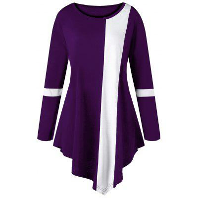 Buy Plus Size Two Tone Color Asymmetric Long Top, PURPLE, 4XL, Apparel, Women's Clothing, Plus Size, Plus Size Tops for $15.18 in GearBest store