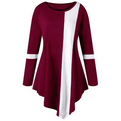 Buy Plus Size Two Tone Color Asymmetric Long Top, WINE RED, 3XL, Apparel, Women's Clothing, Plus Size, Plus Size Tops for $15.18 in GearBest store