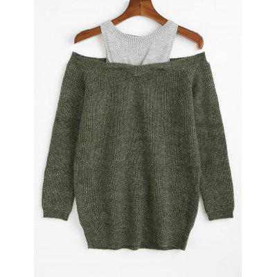Two Tone Cold Shoulder Tunic Sweater
