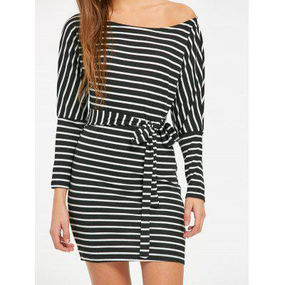Фото Skew Neck Striped Mini Dress. Купить в РФ