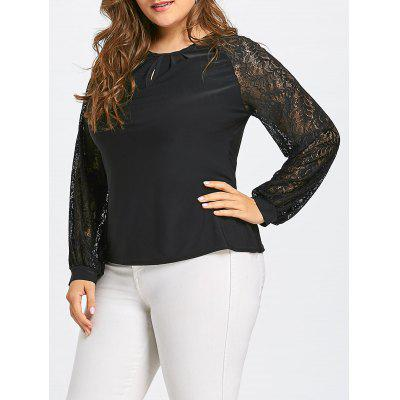 Plus Size Sheer Long Lace Sleeve T-shirt
