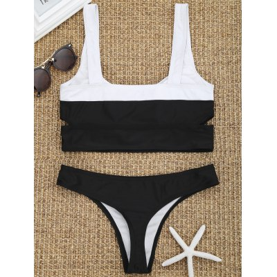 Cut Out Two Tone Thong Bikini SetLingerie &amp; Shapewear<br>Cut Out Two Tone Thong Bikini Set<br><br>Bikini Type: String Bikini,Wrap Bikini<br>Bra Style: Padded<br>Elasticity: Elastic<br>Gender: For Women<br>Material: Chinlon<br>Neckline: Straps<br>Package Contents: 1 x Bra  1 x Briefs<br>Pattern Type: Others<br>Support Type: Wire Free<br>Swimwear Type: Bikini<br>Waist: Low Waisted<br>Weight: 0.2000kg