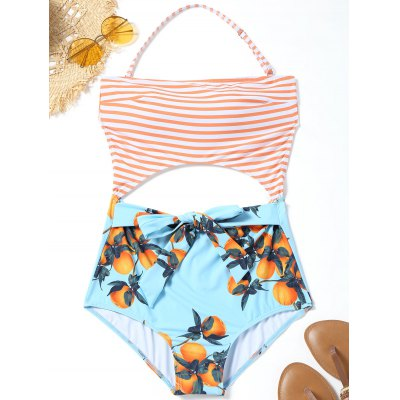 Cut Out Striped Orange Print Swimwear летняя шина atturo az800 235 65 r17 108v xl