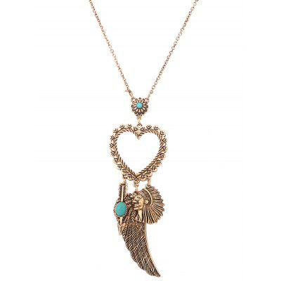 Faux Turquoise Indian Wing Heart Sweater Chain