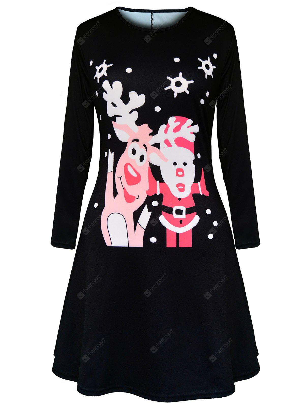 Christmas Elk Santa Claus Polka Dot Print Dress