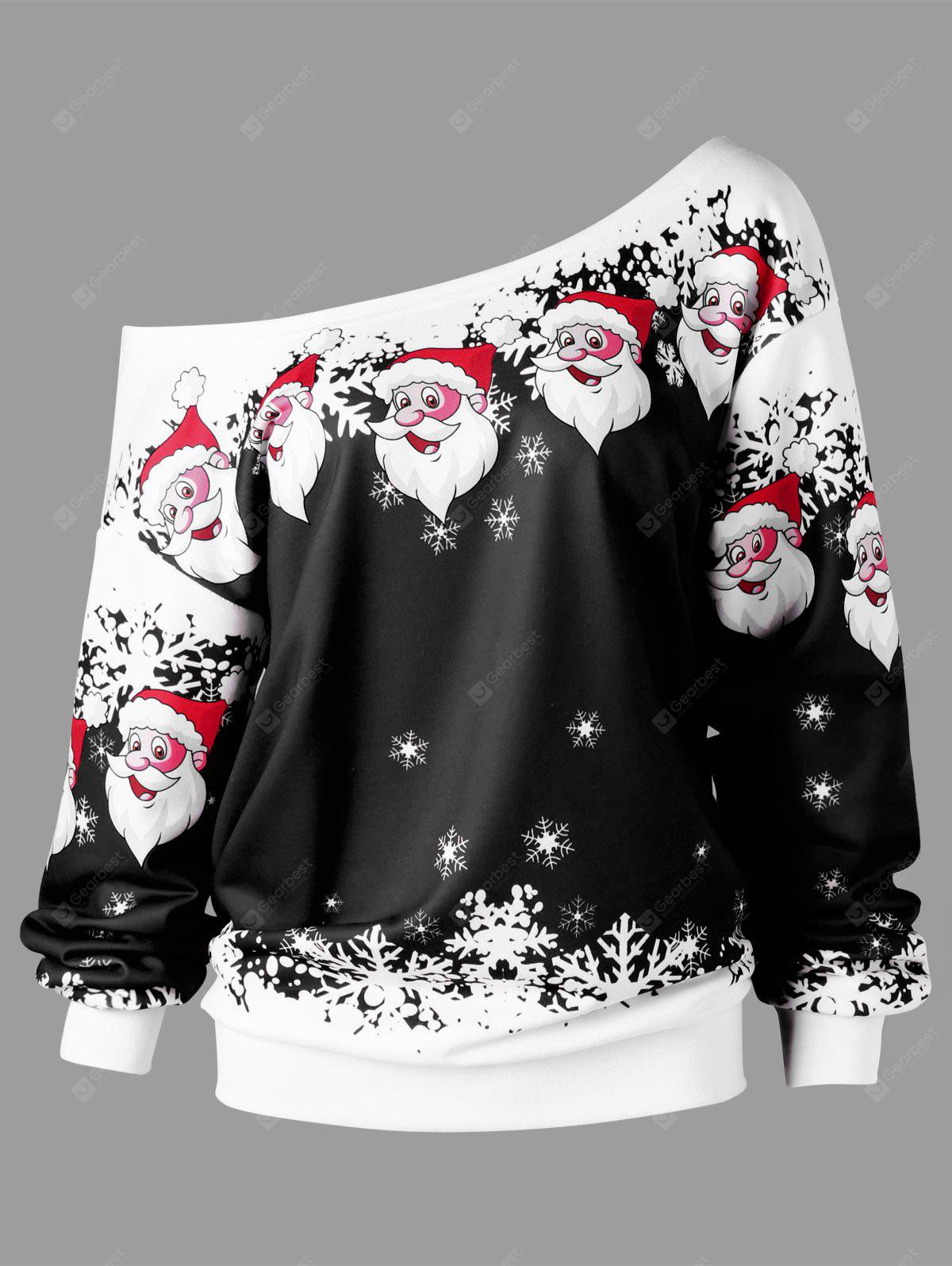 Christmas Plus Size Santa Claus Skew Collar Sweatshirt