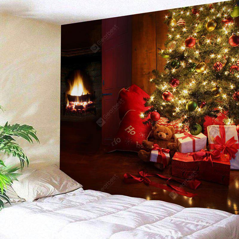 Christmas Tree Gift Fireplace Print Wall Tapestry