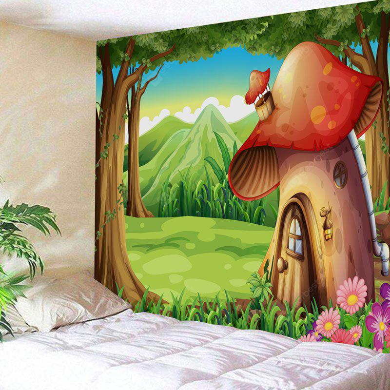 Cartoon Forest Mushroom House Print Wall Art Tapestry