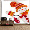 Winter Christmas Snowman Pattern Wall Art Tapestry - WHITE AND ORANGE