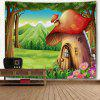 Cartoon Forest Mushroom House Print Wall Art Tapestry - GREEN