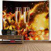Christmas Two Champagne Glasses Print Wall Decor Tapestry - YELLOW