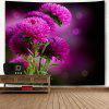 Wall Hanging Flower Print Decorative Tapestry - FUCHSIA ROSE
