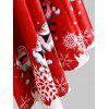 Velvet Christmas Print Hooded Cape Coat - RED AND WHITE