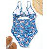 Cut Out Leaf Print High Cut Swimwear - COR MISTURA