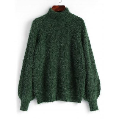 Textured Lantern Sleeve Mock Neck Sweater