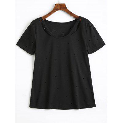 Cut Out Holes Cotton T Shirt