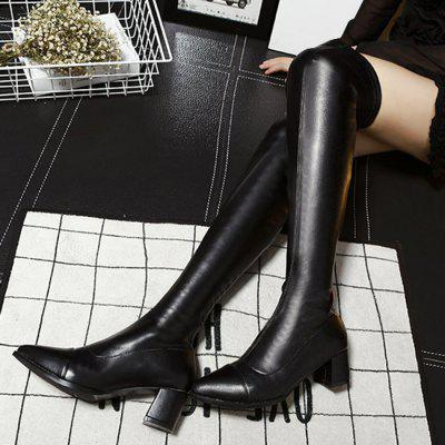 Faux Leather Over-the-Knee Thigh High BootsWomens Boots<br>Faux Leather Over-the-Knee Thigh High Boots<br><br>Boot Height: Over-the-Knee<br>Boot Tube Height: 56CM<br>Boot Type: Riding/Equestrian<br>Closure Type: Zip<br>Gender: For Women<br>Heel Height: 5CM<br>Heel Height Range: Med(1.75-2.75)<br>Heel Type: Chunky Heel<br>Package Contents: 1 x Boots (pair)<br>Pattern Type: Solid<br>Season: Spring/Fall, Winter<br>Shoe Width: Medium(B/M)<br>Toe Shape: Pointed Toe<br>Upper Material: PU<br>Weight: 1.7500kg