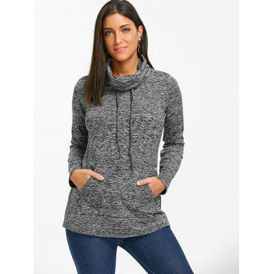 Cowl Neck Drawstring Heathered SweatshirtSweatshirts &amp; Hoodies<br>Cowl Neck Drawstring Heathered Sweatshirt<br><br>Embellishment: Front Pocket<br>Material: Polyester, Spandex<br>Package Contents: 1 x Sweatshirt<br>Pattern Style: Others<br>Season: Winter, Spring, Fall<br>Shirt Length: Regular<br>Sleeve Length: Full<br>Style: Casual<br>Weight: 0.4100kg