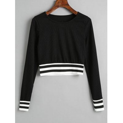 Stripes Panel Ribbed Cropped Sweatshirt