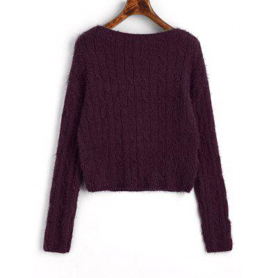 Cable Knit Textured Cropped SweaterSweaters &amp; Cardigans<br>Cable Knit Textured Cropped Sweater<br><br>Collar: V-Neck<br>Material: Acrylic, Cotton, Polyester<br>Package Contents: 1 x Sweater<br>Pattern Type: Solid<br>Sleeve Length: Full<br>Style: Fashion<br>Type: Pullovers<br>Weight: 0.4050kg
