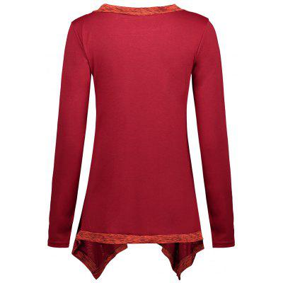 Faux Two Piece Scoop Neck Asymmetric TopBlouses<br>Faux Two Piece Scoop Neck Asymmetric Top<br><br>Collar: Scoop Neck<br>Material: Polyester, Spandex<br>Package Contents: 1 x Top<br>Pattern Type: Others<br>Season: Fall, Spring<br>Shirt Length: Regular<br>Sleeve Length: Full<br>Style: Fashion<br>Weight: 0.3500kg
