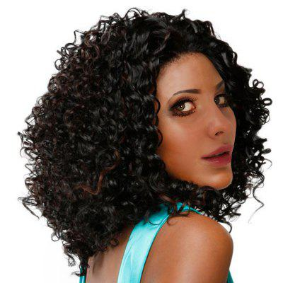 Buy BLACK AND BROWN Medium Inclined Bang Shaggy Colormix Afro Kinky Curly Synthetic Wig for $19.33 in GearBest store