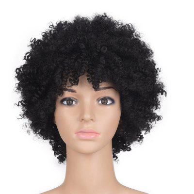 Medium Inclined Bang Fluffy Afro Kinky Curly Synthetic Wig