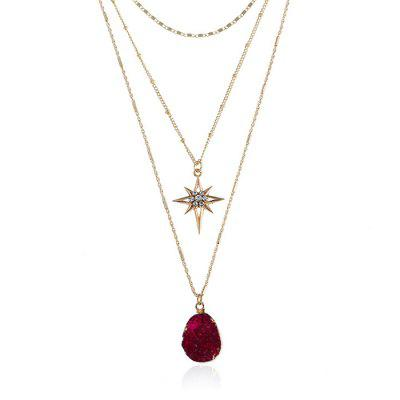 Natural Stone Geometric Star Layered Necklace