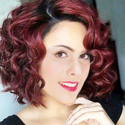 Short Side Parting Ombre Wavy Synthetic Wig