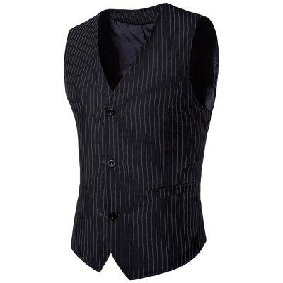 Vertical Stripes Single Breasted V Neck Waistcoat
