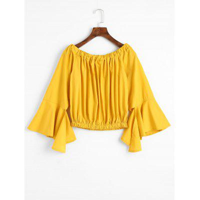 Off Shoulder Asymmetrical Flare Sleeve Blouse