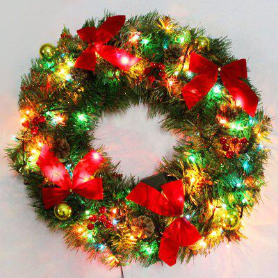 Bowknot Christmas Wreath With LED Lights 45 54 Online Shopping  - Christmas Wreath Lights