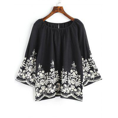 Floral Embroidered Raglan Sleeve Blouse