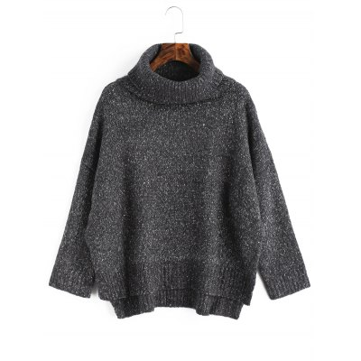 Turtleneck Heathered High Low Sweater