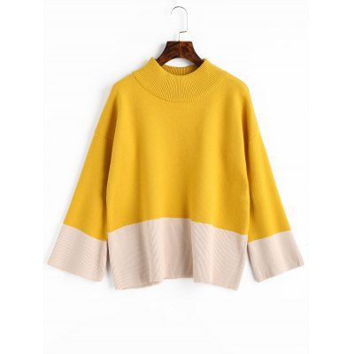 High Neck Two Tone Sweater