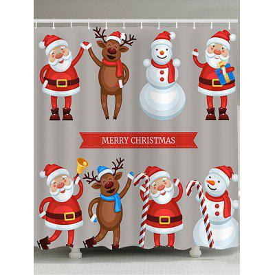 Santa Snowman Elk Printed Waterproof Christmas Shower Curtain