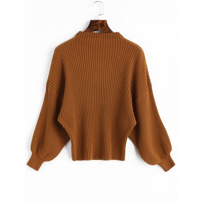 Ribbed Mock Neck Lantern Sleeve Sweater