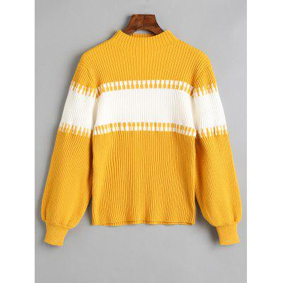 Mock Neck Two Tone Ribbed Sweater