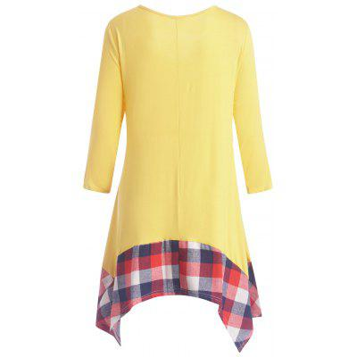 Plus Size Plaid Panel Asymmetric Tunic DressPlus Size Dresses<br>Plus Size Plaid Panel Asymmetric Tunic Dress<br><br>Dresses Length: Mini<br>Embellishment: Panel<br>Material: Cotton Blend, Polyester<br>Neckline: V-Neck<br>Package Contents: 1 x Dress<br>Pattern Type: Plaid<br>Season: Fall, Winter<br>Silhouette: Asymmetrical<br>Sleeve Length: 3/4 Length Sleeves<br>Style: Casual<br>Weight: 0.3800kg<br>With Belt: No