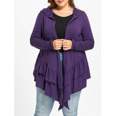 Plus Size Ruffle Hooded Open Front Cardigan