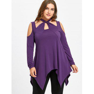 Plus Size Asymmetric Halter Cold Shoulder TopPlus Size Tops<br>Plus Size Asymmetric Halter Cold Shoulder Top<br><br>Collar: Halter Neck<br>Embellishment: Cut Out<br>Material: Polyester, Spandex<br>Package Contents: 1 x Top<br>Pattern Type: Solid<br>Season: Fall, Winter, Spring<br>Shirt Length: Regular<br>Sleeve Length: Full<br>Sleeve Type: Cold Shoulder<br>Style: Fashion<br>Weight: 0.3650kg
