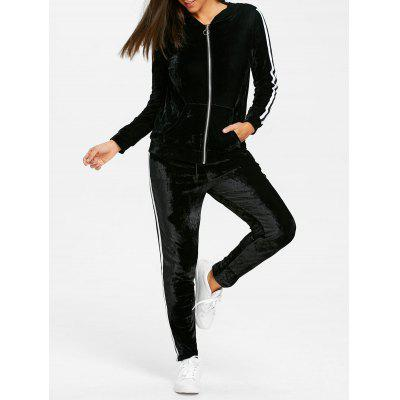 Velvet Striped Hooded Jacket and Drawstring Pants