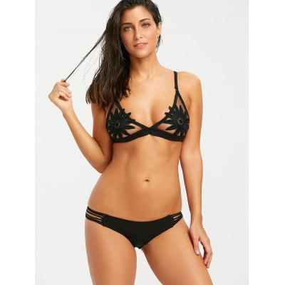 Sheer Mesh Floral Bikini SetLingerie &amp; Shapewear<br>Sheer Mesh Floral Bikini Set<br><br>Bikini Type: Skimpy Bikini<br>Bra Style: Bralette<br>Elasticity: Micro-elastic<br>Embellishment: Backless<br>Gender: For Women<br>Material: Polyester<br>Neckline: Halter<br>Package Contents: 1 x Bikini Bra 1 x Thong<br>Pattern Type: Floral<br>Style: Sexy<br>Support Type: Wire Free<br>Swimwear Type: Bikini<br>Waist: Low Waisted<br>Weight: 0.1700kg