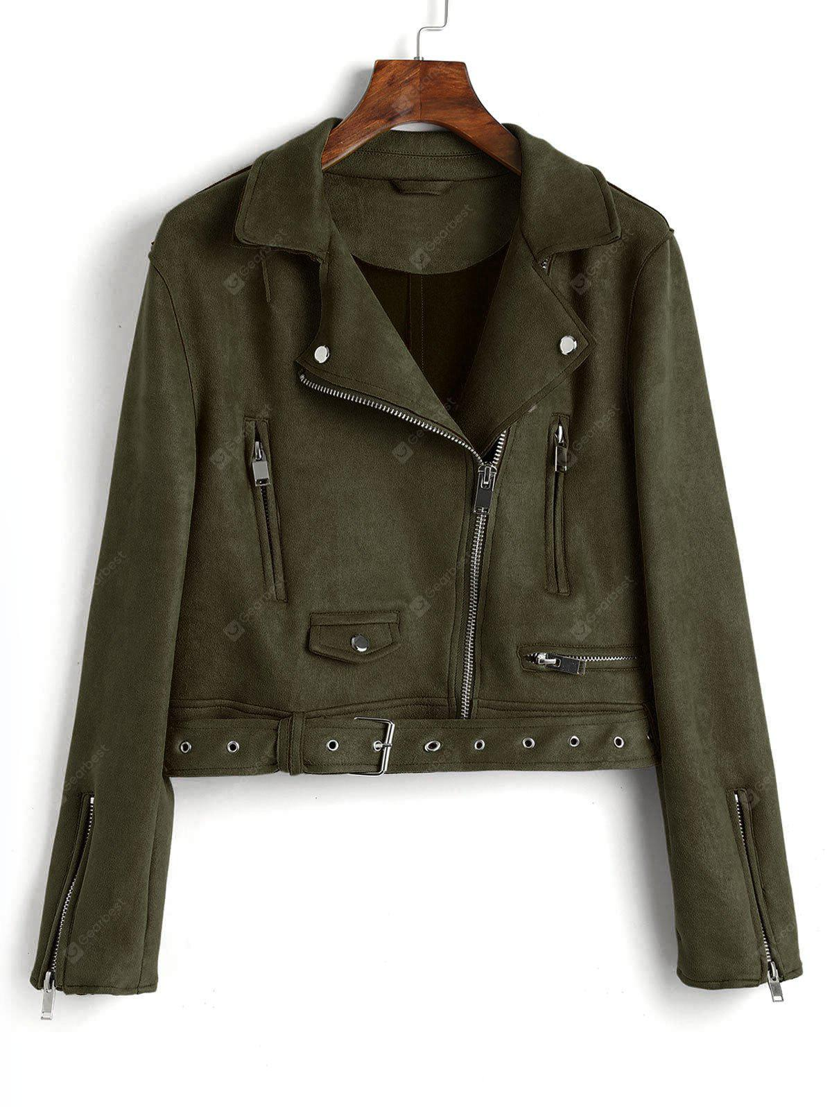 Faux Suede Zip Up Belted Jacket