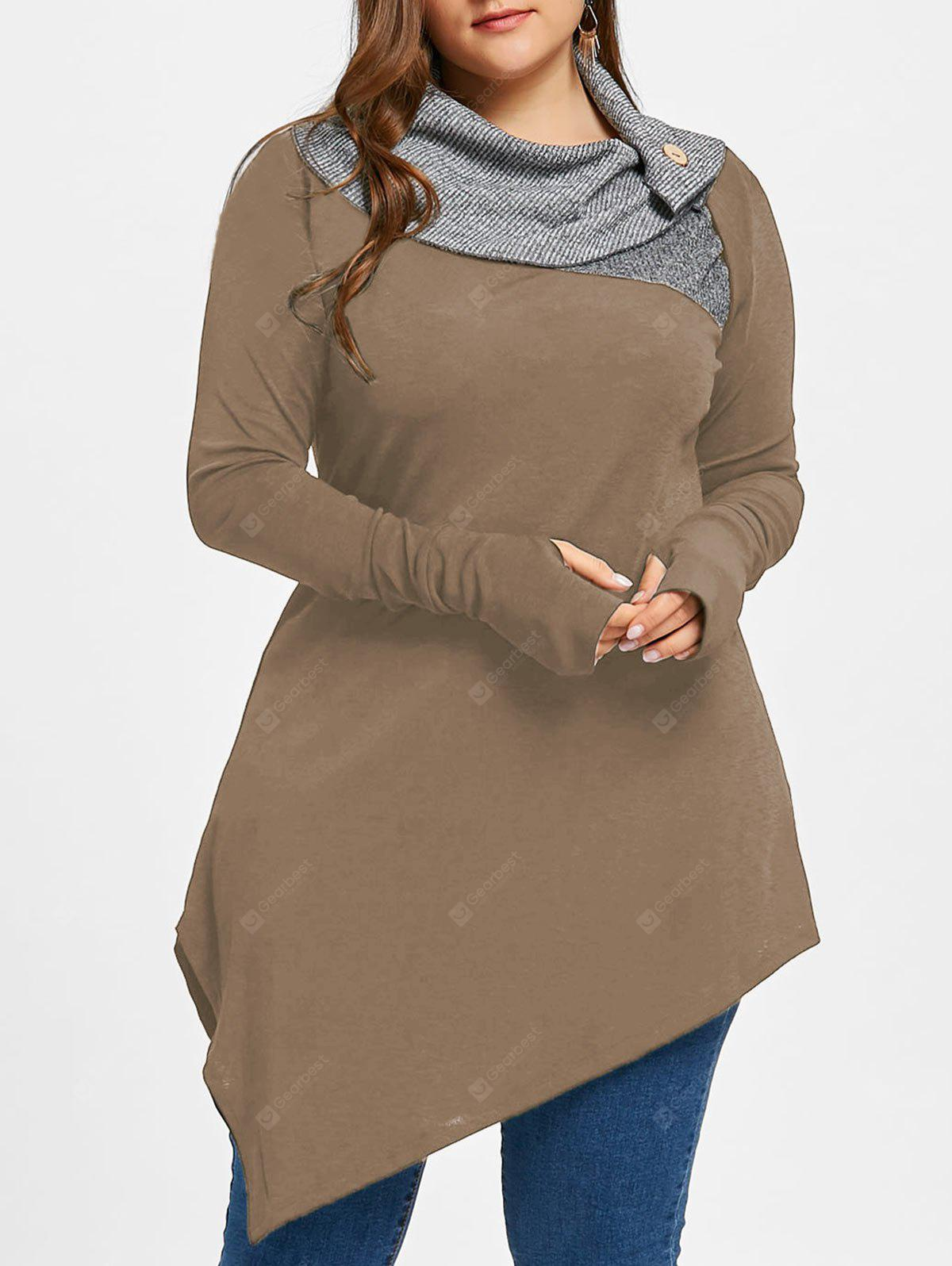 Plus Size Thumb Hole Asymmetrical Tunic Top