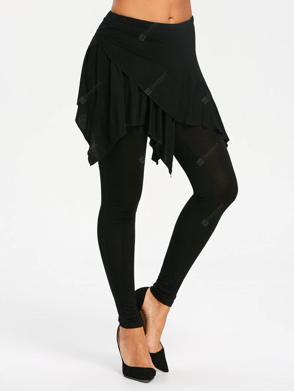 Handkerchief Skirted Leggings with High Waist
