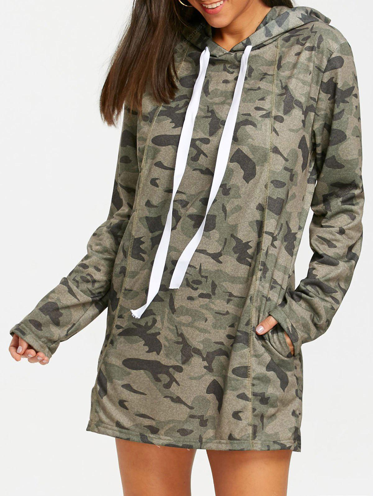 Exposed Seam Camouflage Hoodie Dress