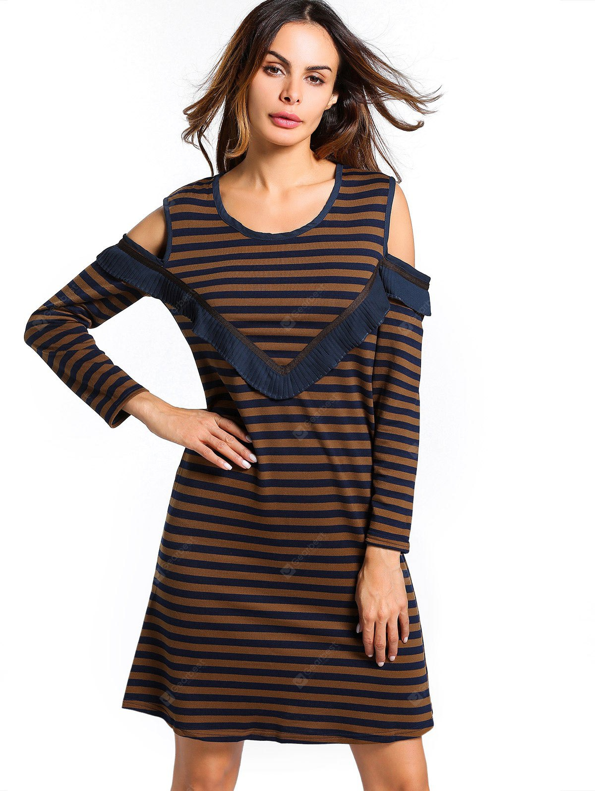 U Neck Open Shoulder Striped Dress